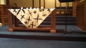 Ash Wednesday Altar Cloth painted by the children. Thanks to Worshiping with Children for the Inspiration!
